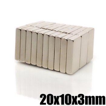 20x10x3 mm Neodym Magnet N50, vernickelt